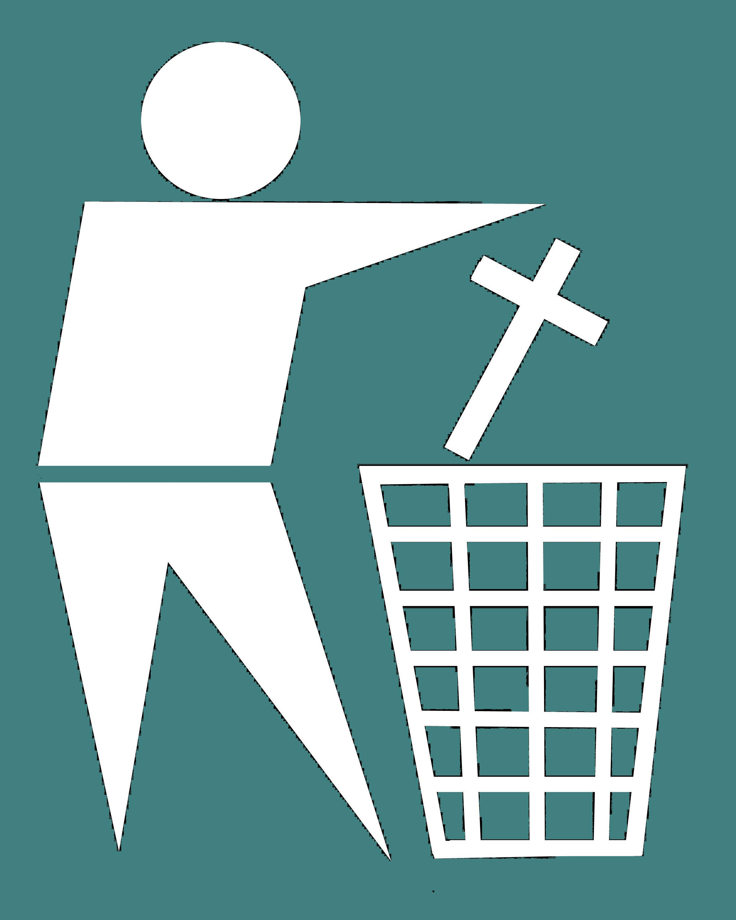 religious cross being thrown away as waste